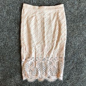 Akira Chicago Lace Pink/Nude Skirt Small